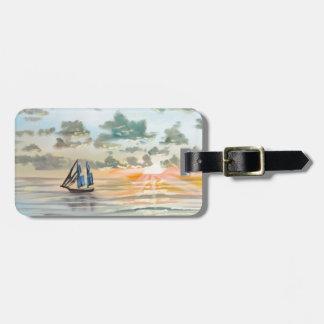 Ship on the sea painting bag tag