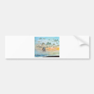 Ship on the sea painting bumper sticker