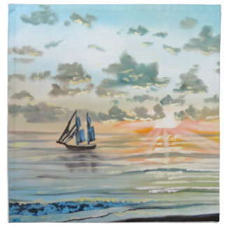 Ship on the sea painting napkin