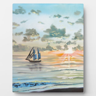 Ship on the sea painting plaque