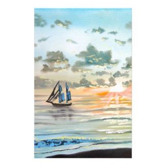 Ship on the sea painting stationery