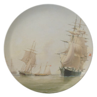 Ship Painting (oil on canvas) Dinner Plate