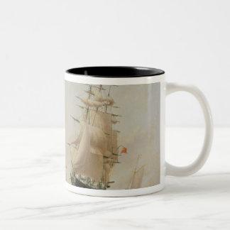 Ship Painting (oil on canvas) Two-Tone Coffee Mug