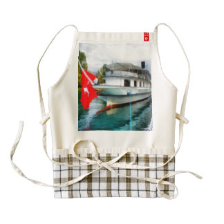 Ship ready on Swiss lake Zazzle HEART Apron