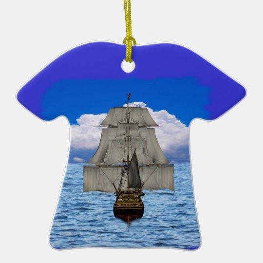 Ship sailing ceramic ornament