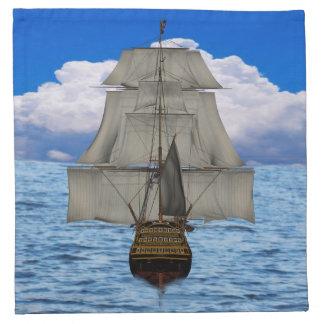 Ship sailing napkin