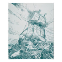 Ship Sailing Nautical Ocean Waves Poster