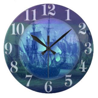 Ship Sailing on the High Seas. Large Clock