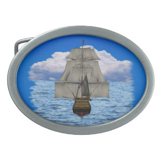 Ship sailing oval belt buckle