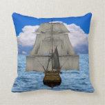 Ship sailing throw pillow