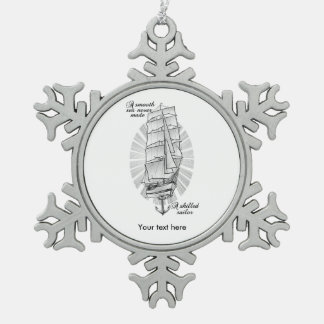 Ship Sailors Tattoo Snowflake Pewter Christmas Ornament