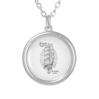 Ship Schooner Quote Silver Plated Necklace