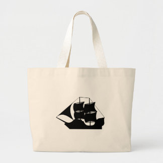 Ship Silhouette Large Tote Bag