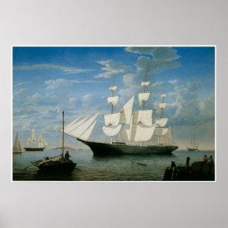 Ship star Light in Boston Harbor, 1854 Poster