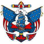Ship Tattoo in Red and Blue Christmas Ornament Photo Cut Out