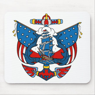 Ship Tattoo in Red and Blue Mousepad