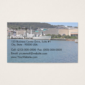 Ship tied up in the bay - waterscape business card