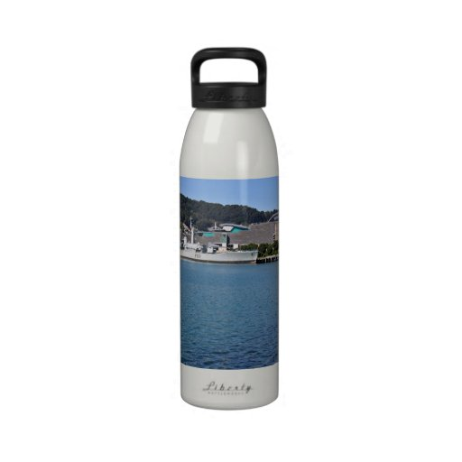 Ship tied up in the bay - waterscape water bottle