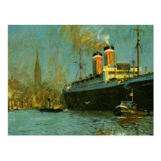 Ship Tugboat and Sailboat Postcard