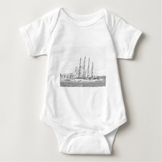 Ship under sail drawing baby bodysuit