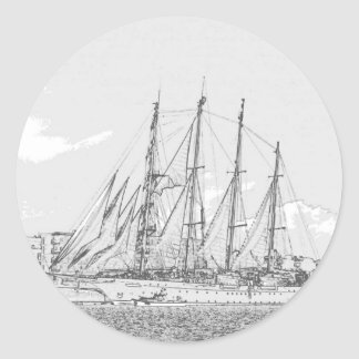 Ship under sail drawing classic round sticker