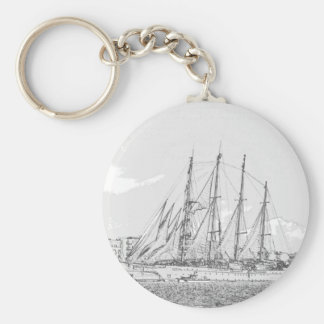 Ship under sail drawing keychain
