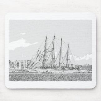Ship under sail drawing mouse pad
