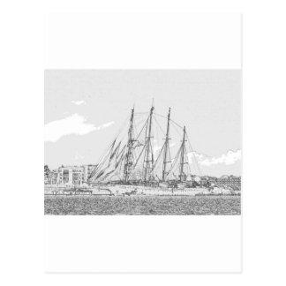 Ship under sail drawing postcard