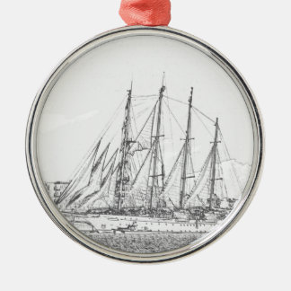 Ship under sail drawing round metal christmas ornament
