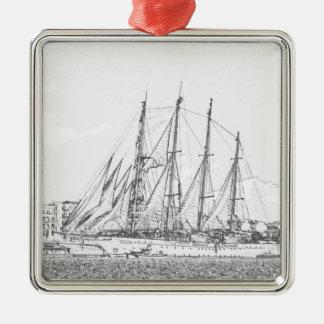 Ship under sail drawing square metal christmas ornament