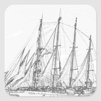 Ship under sail drawing square sticker