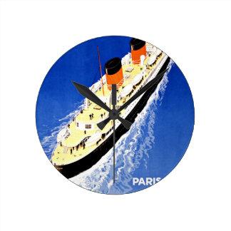 Ship Ville D'Alger Paris Vintage Travel Round Wallclocks
