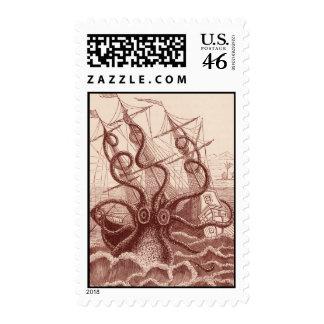 ship vs. octopus stamp