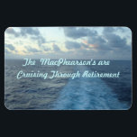 "Ship Wake Hzt Custom Magnet<br><div class=""desc"">The wake of a slow moving cruise ship against a sunset at sea...  Replace the words &quot;The MacPhearson&#39;s are Cruising through Retirement&quot; to create your own custom stateroom door marker</div>"