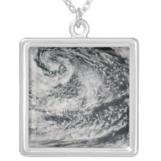 Ship-wave-shaped wave clouds 2 silver plated necklace