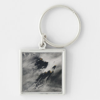 Ship-wave-shaped wave clouds and cloud vortices Silver-Colored square keychain