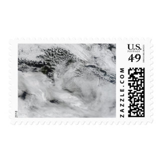Ship-wave-shaped wave clouds stamps