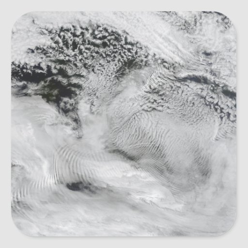 Ship-wave-shaped wave clouds square sticker