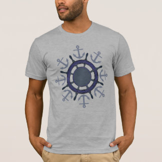 ship wheel and anchor  sailing tshirt
