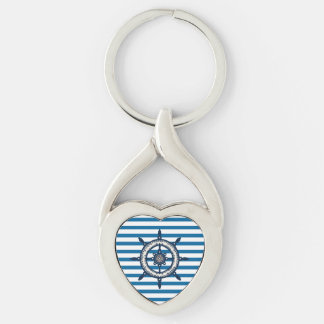 Ship Wheel Blue and White Horizontal Stripe Keychain