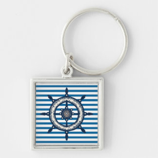 Ship Wheel Blue and White Stripe Silver-Colored Square Keychain