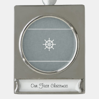 Ship Wheel Blue Silver Plated Banner Ornament
