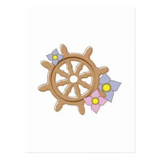 Ship Wheel Flowers Post Card
