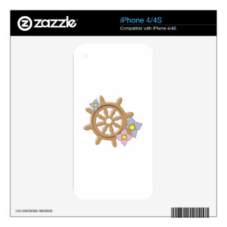 Ship Wheel Flowers Skin For The iPhone 4S
