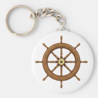 ship wheel inspired design keychain