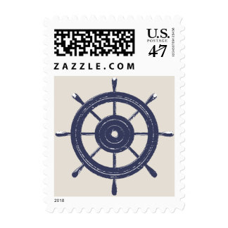 Ship Wheel Nautical Wedding Postage Stamp