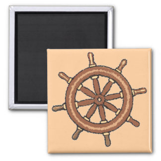 Ship Wheel on Tan 2 Inch Square Magnet