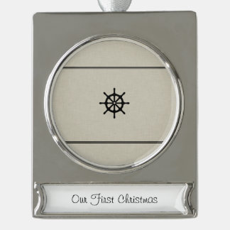Ship Wheel Silver Plated Banner Ornament