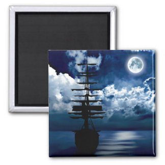Ship with full moon magnet