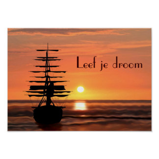 Ship with sunrise poster